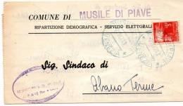 1947 LETTERA  CON ANNULLO MUSILE DI PIAVE VENEZIA - 1946-60: Storia Postale