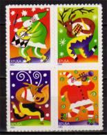 USA.Pere Noel & Rennes Musiciens.  4 T-p Neufs **  Adhesifs. Yv.# 3512/15 - Christmas