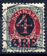 DENMARK 1912  4 Øre Surcharge With Early Type Crown Watermark,  Used.  Michel 40Y - 1864-04 (Christian IX)
