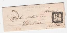 Taxe N°1 Lithographie  Cad MAS CABARDES 10   5 FEVRIER 1859   TTB Cote 850 - Postage Due Covers