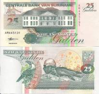 Suriname P136b, 5 Gulden, Logging/Toucan - Surinam