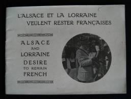 Guerre 14/18 L'ALSACE ET LA LORRAINE VEULENT RESTER FRANCAISES 1917 - Alsace