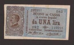 REGNO D´ ITALIA - 1 LIRA Buono Di Cassa Vitt. Emanuele III (Firme: Giu. Dell´Ara / Righetti - 28/ 12 / 1917) - [ 1] …-1946 : Regno