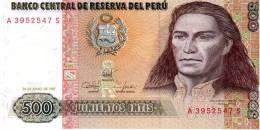 PEROU - Billetde 500 Intis (bon état) N° A3952547 S - Pérou