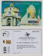 CROATIA  PAPA POPE JOHANNES PAULUS II 1998  PRIVATE EDITION ONLY 100 Pcs  ENGLISH TEXT - OVERPRINT CARDEX 98 - Personaggi