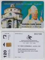 CROATIA  PAPA POPE JOHANNES PAULUS II 1998  PRIVATE EDITION ONLY 100 Pcs ENGLISH TEXT - OVERPRINT EUROPA CARD SHOW - Personaggi