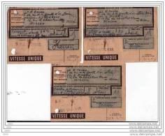 3 Récépissés Transport  SNCF NORD - EXP.  Mr. Cockx  (garage) 36 RUE DE LA GOUTTE D´OR PARIS 18ème -1944. - Non Classés