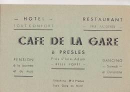 "¤¤  -  PRESES Près De L'Isle-Adam  -  Carte De Visite De L'Hôtel, Restaurant "" Café De La Gare ""   -  ¤¤ - Visiting Cards"