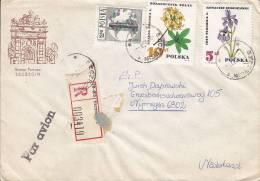Poland Airmail Par Avion Registered Einschreiben SZCZECIN Label Cover Brief To NIJMEGEN Netherlands Brama Portowa Cachet - Ohne Zuordnung