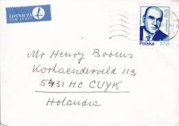 Poland Airmail Par Avion Lotnicza Label POZNAN 1985 Cover Brief Jaroslaw Iwaszkiewicz Stamp - Luftpost