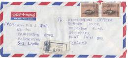 RESGISTERED Air Mail Borella SRI LANKA COVER BODHISATTVA Stamps Buddhism Religion - Buddhism