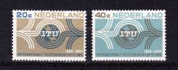 NETHERLANDS  1965 ,  I T U  Centenary  ,  Y&T #  814 / 15  , Cv  1,00 E ,  ** M N H , V V F - Nuovi