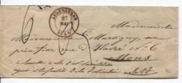 Enveloppe C.Audenaerde Du 27/5/1849 Taxe 3&6 Dos Gff Rouge APRES LE DEPART V.Mons C.d'arrivée PR115 - 1830-1849 (Belgique Indépendante)
