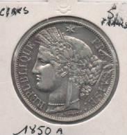 5 Francs --  CERES  1850 A  -- Deuxième République -- ARGENT - France