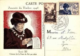 FDC : Journée Du Timbre 13/10/1945 N°742 Et 743   Lyon - Maximum Cards