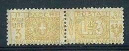 ITALIA REGNO - 1914/19 - PACCHI POSTALI  - 3 LIRE GIALLO NUOVO LINGUELLATO * SASS. N° 14 - 1900-44 Victor Emmanuel III.