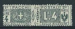 ITALIA REGNO - 1914/19 - PACCHI POSTALI  - 4 LIRE GRIGIO NERO  NUOVO LINGUELLATO * SASS. N° 15 - 1900-44 Victor Emmanuel III.