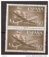 ES1171-A971TTOM.Spain Espagne SUPER-CONSTELLATION Y NAO SANTA MARIA 1955/56.(Ed. 1171**)sin Charnela LUJO  BLOQUE DE 2 - Transporte