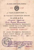 DIPLOME BREVET MEDAILLE DEFENSE CAUCASE ARMEE ROUGE GUERRE PATRIOTIQUE 1944 URSS STALINE - Documenten