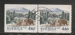 SWEDEN - 1990  FAUNA - BEARS - Yvert # 1570 Pair - USED - Oblitérés