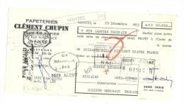 Lettre De Change, Mandat, Papeteries Clément Chupin - Nantes (44) - 1951 - Lettres De Change