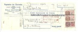Lettre De Change, Mandat, Papeteries Emile Venthenat - Barbezieux (16) - 1939 - Lettres De Change