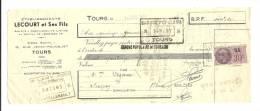Lettre De Change, Mandat, Ets Lecourt Et Ses Fils - Tours (37) - 1938 - Lettres De Change