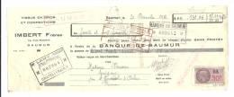 Lettre De Change, Mandat, Imert Frères - Saumur (49) - 1938 - Lettres De Change
