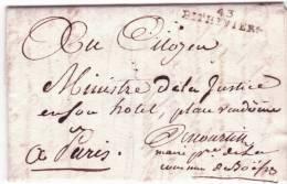 An 8 - Lettre En Franchise Du Maire De Boësse De 43 / PITHIVIERS ( Loiret ) 35 X 7 1/2 Mm Noir    - Texte Interessant - 1801-1848: Vorläufer XIX