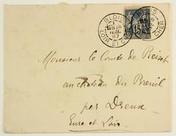 Enveloppe 1887 Blois --> Dreux, Aff. 15c Type Sage YT 90, Tad Blois Type 84b, 11e Levée / Ambulant Paris à Laigle - 1877-1920: Periodo Semi Moderno