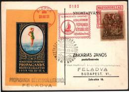 SAILING - HUNGARY SIOFOK 1938 - METER / EMA + POSTMARK - INTERNATIONAL SPORT WEEK LAKE BALATON - MAILED CARD - Zeilen