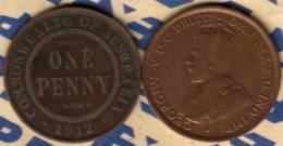 AUSTRALIA 1 PENNY NAME FRONT MAN KGV HEAD BACK 1912 H F+ CV$7 KM23 READ DESCRIPTION CAREFULLY !!! - Monnaie Pré-décimale (1910-1965)