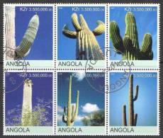 Angola 2000 Cactus - Cactii Block Of 6 CTO - Angola
