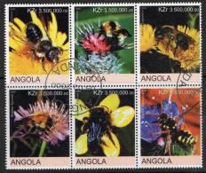 Angola 2000 Bees Block Of 6 CTO - Angola