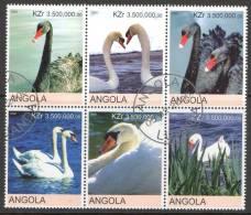 Angola 2000 Swans Block Of 6 CTO - Angola