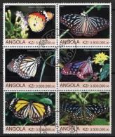 Angola 2000 Butterflies Block Of 6 CTO - Angola