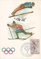 21662 Carte Ski Premier Jour Grenoble France, 1968 -creation First Day Cover -
