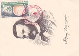 21672 Premier Jour, Carte Postale Henry Dunant, Poste Française 0.25 Pleumeur Bodou 1963 Croix Rouge