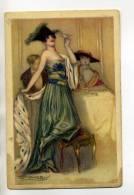 ILLUSTRATEUR MAUZAN Elegante Jeune Femme Buvant Champagne Robe Soirée    1921  Mode    /D3-2013 - Illustrators & Photographers