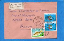MARCOPHILIE-lettreREC- CONGO-cad-Makaba1981-3stamps-N°593 Tourisme-pour Françe - Congo - Brazzaville