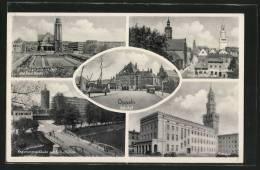 CPA Oppeln, Bahnhof, Strassburgerplatz Mit Peter- Und Paul-Kirche, Rathaus - Schlesien