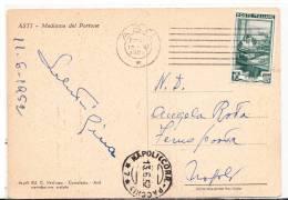 1952 Italia Cartolina M. Del Portone Asti Vg FERMO POSTA X Napoli 2scans - 1946-.. République