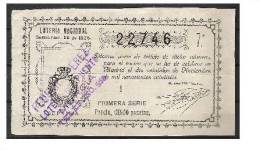 B40-BILLETA LOTERIA ANTIGUA MURCIA AÑO 1926 5 PESETAS  SORTEO Nº33 .LOTERIA DEL PUENTE DE LOS PELIGROS. - Lottery Tickets