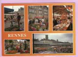 CPM 10*15/C330/RENNES MULTIVUES MARCHE PLACE DES LICES 1998 - Rennes