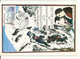 Carte Maximum N° Yvert 2422 Bicentenaire De La Premiere Ascension Du Mont Blanc Alpinisme Escalade Montagne - Climbing