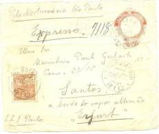 LPU5 - BRESIL FRONT DE ENVELOPPE TARIF EXPRES RIO / SANTOS  DECEMBRE 1925 - Entiers Postaux