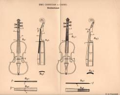 Original Patentschrift - E. Christian In Cassel , 1902 , Streichinstrument , Geige , Violine , Cello !!! - Musikinstrumente