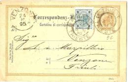 LPU5 -  AUTRICHE EP CP VOYAGEE TRIESTE / VENZONE OCTOBRE 1895 - Interi Postali