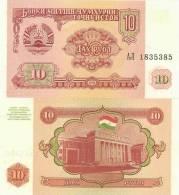 Tajikistan P3a, 10 Ruble, Majlisi (Parliament Building) $2CV - Tajikistan