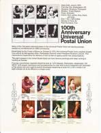 U.S. SP 349  100th Anniv. U.P.U. - Souvenirs & Special Cards
